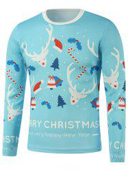 Merry Christmas Elk Candy Cane Printed Long Sleeve Sweatshirt - LIGHT BLUE