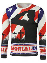 American Flag Star Crucifix Printed Long Sleeve Sweatshirt -