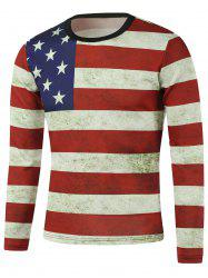American Flag Stripe Printed Crew Neck Long Sleeve Sweatshirt - RED