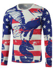 American Flag Star Print Splatter Paint Sweatshirt - BLUE L