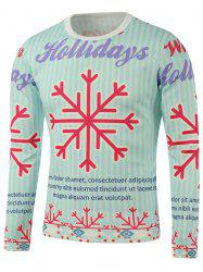 Crew Neck Snowflake Print Long Sleeve Sweatshirt