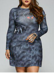 Skull Print Long Sleeves Dress - BLUE GRAY 5XL