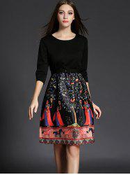 3/4 Sleeve Ethnic Print Dress