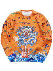 Totem Printed Long Sleeve Crew Neck Sweatshirt