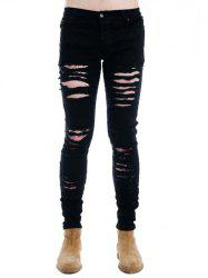 Zipper Fly Black Ripped Skinny Jeans - BLACK