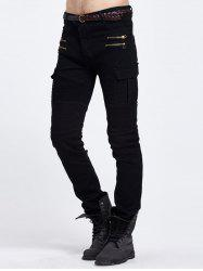 Pintuck Paneled Zipper Cargo Pocket Stretchy Biker Skinny Jeans - BLACK