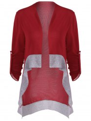 Asymmetrical Color Block Cardigan - WINE RED XL