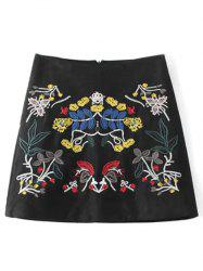 Embroidered Faux Suede Winter Skirt