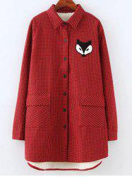 Plus Size Fleece Lined Fox Shirt