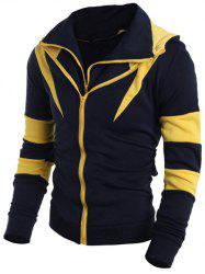 Contrast Color Paneled Drawstring Double Zip Hoodie - YELLOW 2XL