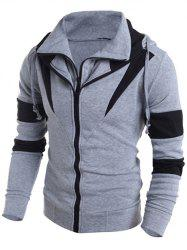 Contrast Color Paneled Drawstring Double Zip Hoodie -