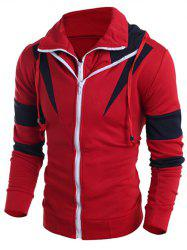 Contrast Color Paneled Drawstring Double Zip Hoodie - RED