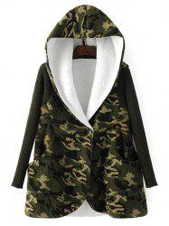 Hooded Fleece Camo Coat - CAMOUFLAGE
