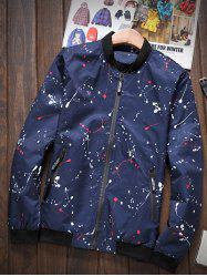 Splatter Printed Zip-Up Pocket Stand Collar Jacket