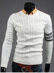 Crew Neck Long Sleeve Twist Striped Sweater