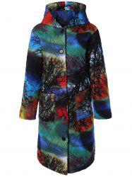 Hooded Tree Print Plus Size Coat - COLORMIX