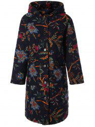 Hooded Floral Print Plus Size Coat - BLACK