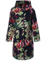 Hooded Floral Printed Plus Size Coat - BLACK