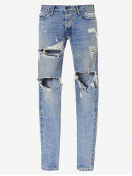 Zip Cuff Knee Hole Narrow Feet Ripped Jeans -