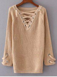 V Neck Lace Up Long Sweater -