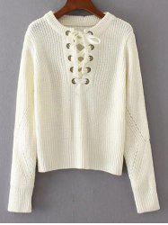 Round Neck Lace Up Sweater -