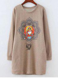 Fleece Peking Opera Mask Print Long Sweatshirt