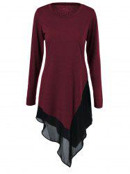 Chiffon Trim Asymmetrical Long Sleeve Dress