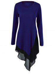 Plus Size Chiffon Trim Asymmetrical Long Sleeve Dress