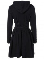 Hooded Long Sleeve Dress with Criss Cross - BLACK