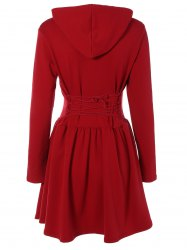 Hooded Long Sleeve Dress with Criss Cross -