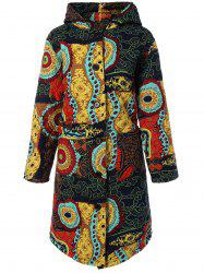 Hooded Ethnic Print Plus Size Coat - COLORMIX