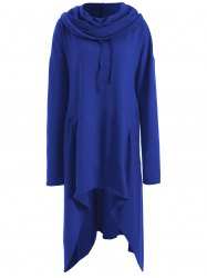 Asymmetrical Pocket Design Loose-Fitting Neck Hoodie