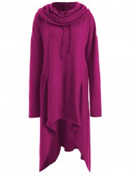 Asymmetrical Pocket Design Loose-Fitting Neck Hoodie - RED VIOLET