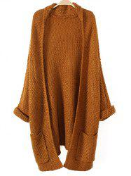 Turnup Sleeves Pockets Knitted Cardigan - KHAKI ONE SIZE