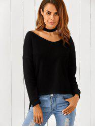 One-Shoulder Loose Sweater - BLACK