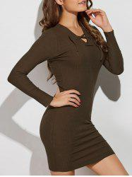 V Neck Lace Up Long Sleeve Sweater Dress - ARMY GREEN S