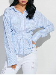 Hook and Eye Wrap Striped Shirt - BLUE/WHITE XL