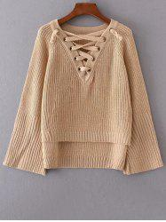 V Neck High Low Lace Up Sweater -