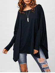 Drop Shoulder Side Slit Smock Tee -