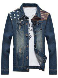 Star Stripe Print Distressed Jean Jacket