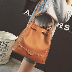 Stitching Drawstring PU Leather Shoulder Bag