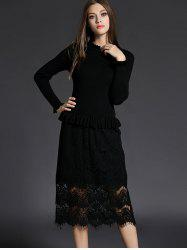 Ruffled Neck Lace Spliced Sheath Long Jumper Dress