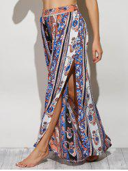 Bohemian Paisley Pattern High Slit Maxi Skirt - COLORMIX