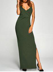 Backless High Split Surplice Maxi Club Dress - ARMY GREEN