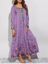 Bohemian Scoop Neck Embroidered Swing Maxi Dress -