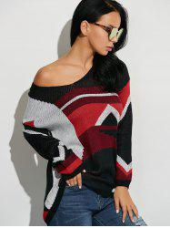 Color Block Relaxed Fit Sweater -