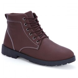 PU Leather Tie Up Stitching Boots -