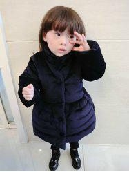 Kids Bowknot Long Padded Coat -