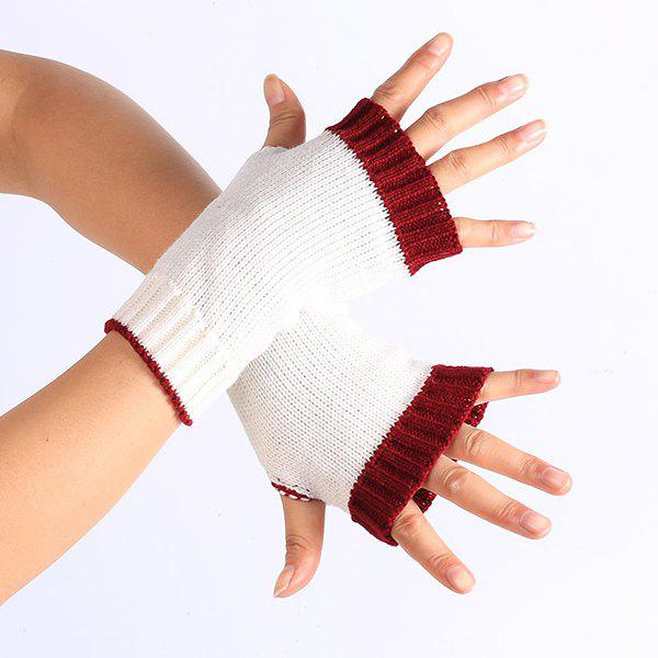 Double Color Knitted Fingerless GlovesACCESSORIES<br><br>Color: WHITE; Group: Adult; Gender: For Women; Style: Fashion; Glove Length: Wrist; Pattern Type: Others; Material: Acrylic; Weight: 0.054kg; Package Contents: 1 x Gloves(Pair);