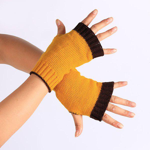 Outfits Double Color Knitted Fingerless Gloves